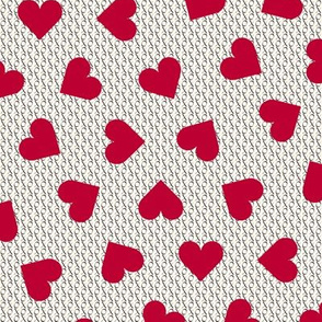 Lipstick red hearts on tiny hugs and kisses