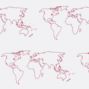 world map red on white