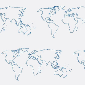 world map blue on white