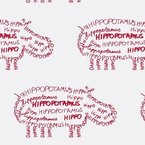 Hippo Calligram red on white