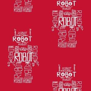 Robot Calligram White on Red