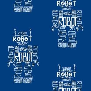 Robot Calligram White on Blue