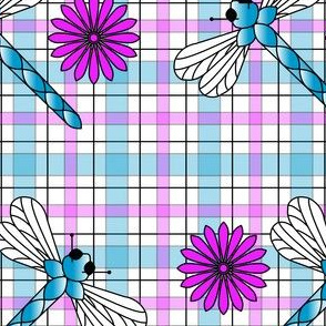 Large_Blue_Dragonflies___Flowers_Plaid