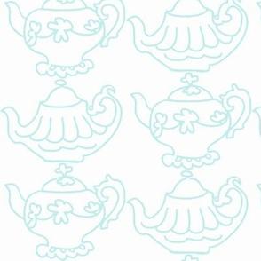 Teapots (lt Aqua & white)