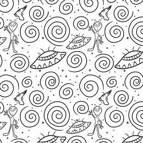 Stars and Galaxies Space Alien Doodle (black & white)