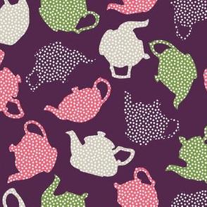 purple polkadot teapots