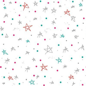 Bohemian Sky | Stars and Galaxies, Stars and Dots, Grey Red Green Pink