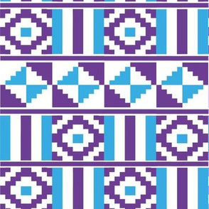 Kente inspired africa in blue and purple on white