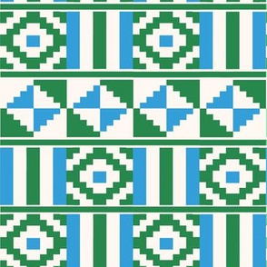 Kente inspired africa in green, blue and cream