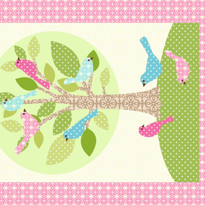 Avian Sanctuary Quilt in Pink