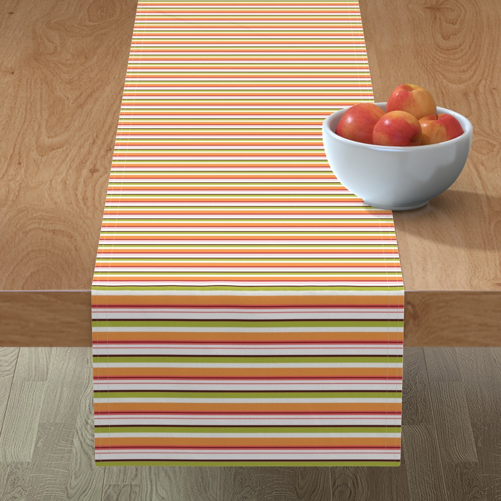Minorca Table Runner featuring stripes green and orange by mytinystar
