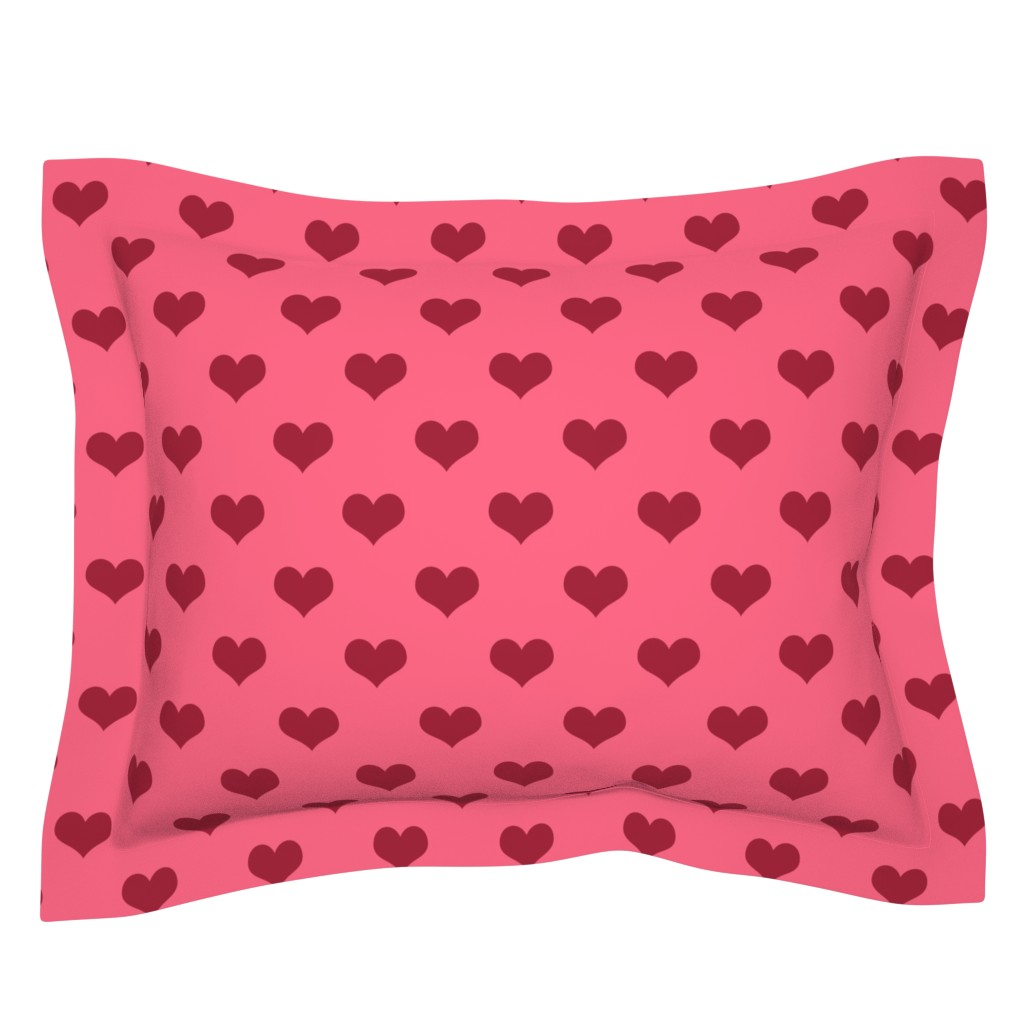 Sebright Pillow Sham featuring Pretty Pink and Red Hearts by cherie