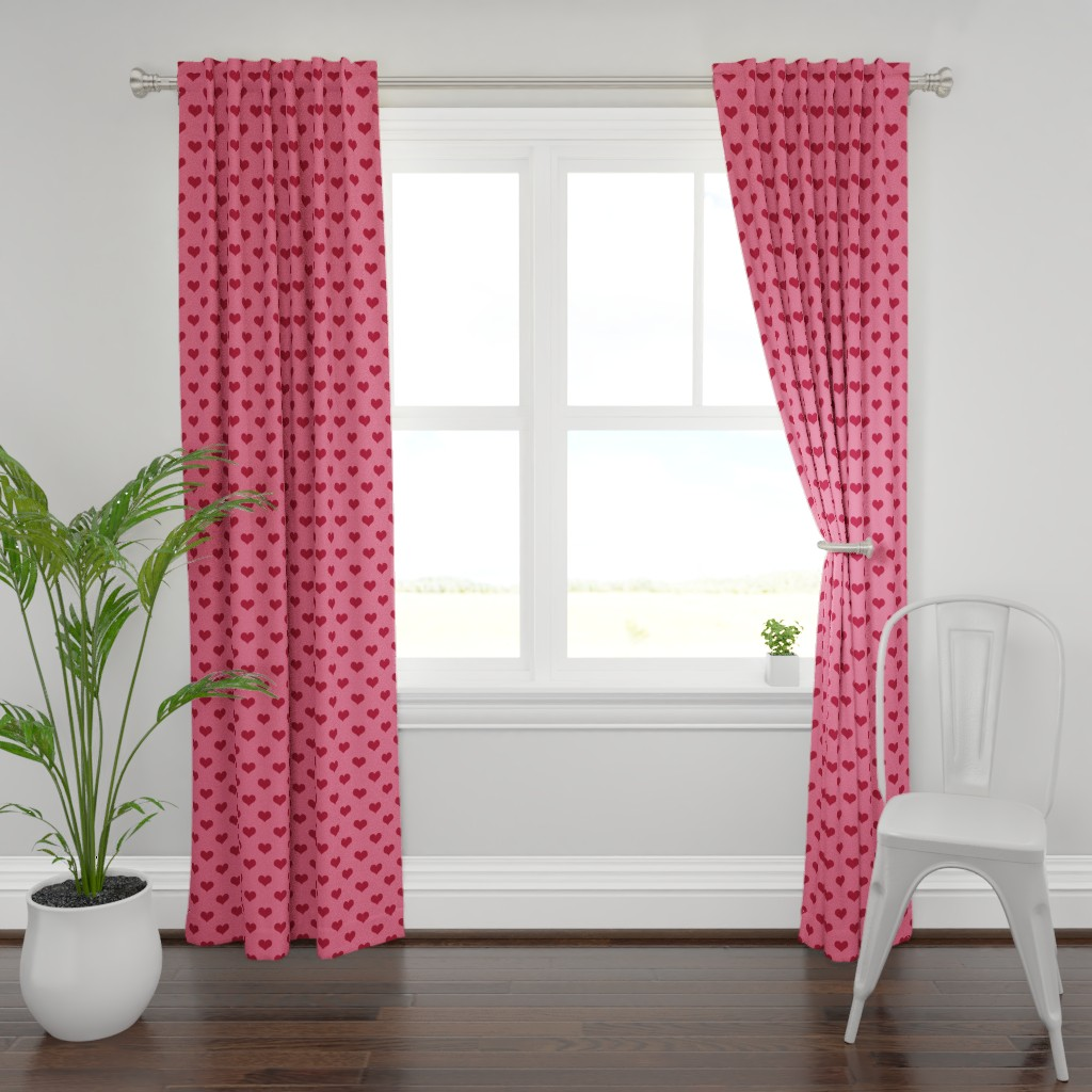 Plymouth Curtain Panel featuring Pretty Pink and Red Hearts by cherie