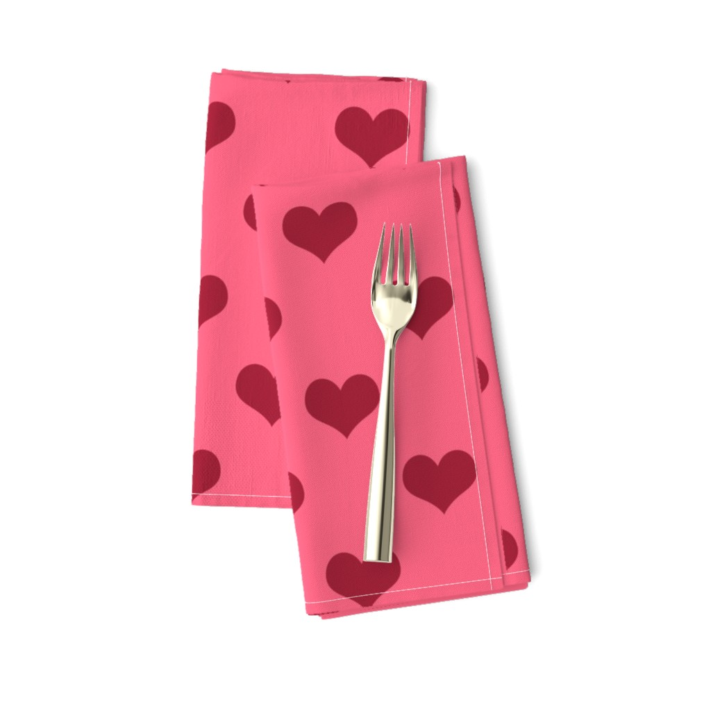 Amarela Dinner Napkins featuring Pretty Pink and Red Hearts by cherie