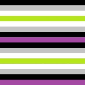 Purple/lime/white/grey/black stripes