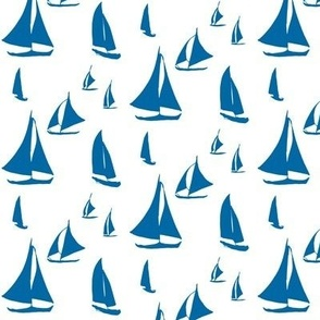Sailboats, Blue on White (Small)