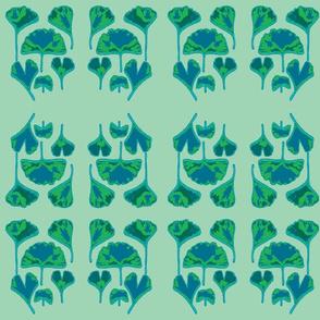 Gingko Leaves-teal/green