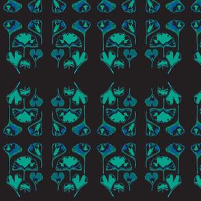 Gingko Leaves-black/blue/teal