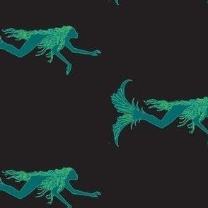 Swimming Mermaids-teal/black