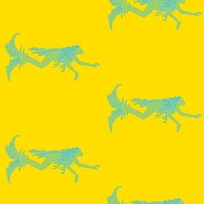 Swimming Mermaids-yellow/green