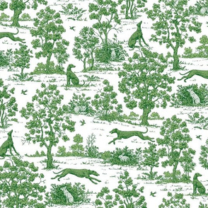 Green Toile with greyhounds - coordinate