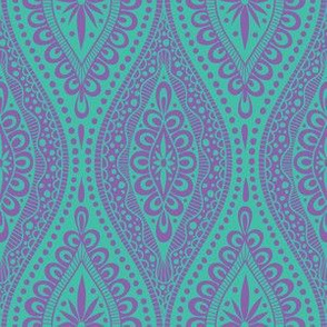 Scallopy-purple on turquoise