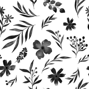 Black floral watercolors with leaves