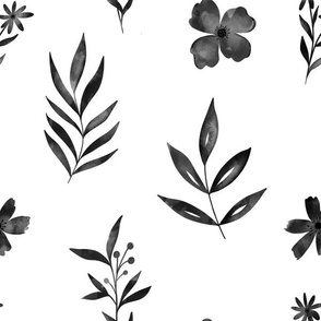 Black watercolor flowers and leaves