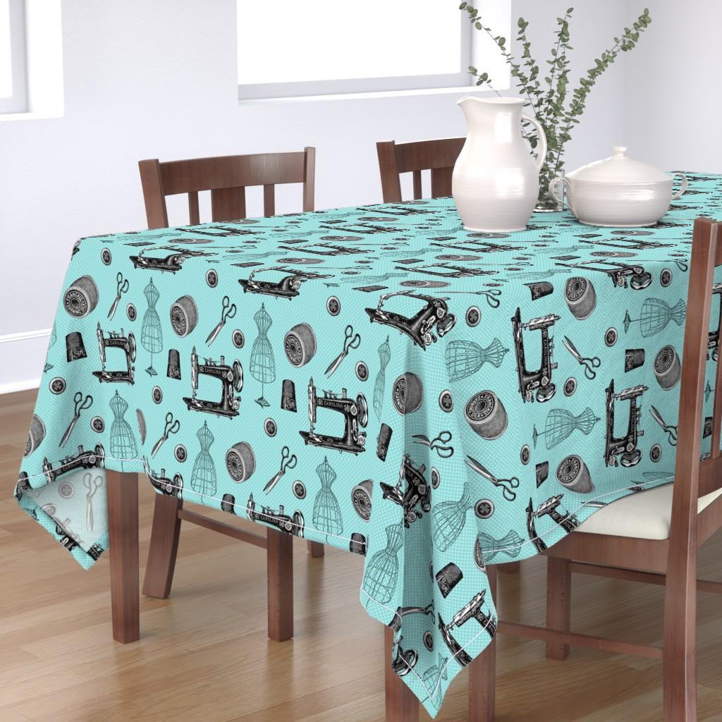 Bantam Rectangular Tablecloth featuring Vintage Sewing Aqua by 13moons_design