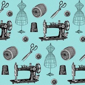 Vintage Sewing Aqua