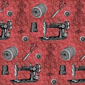 Vintage Sewing Red Floral