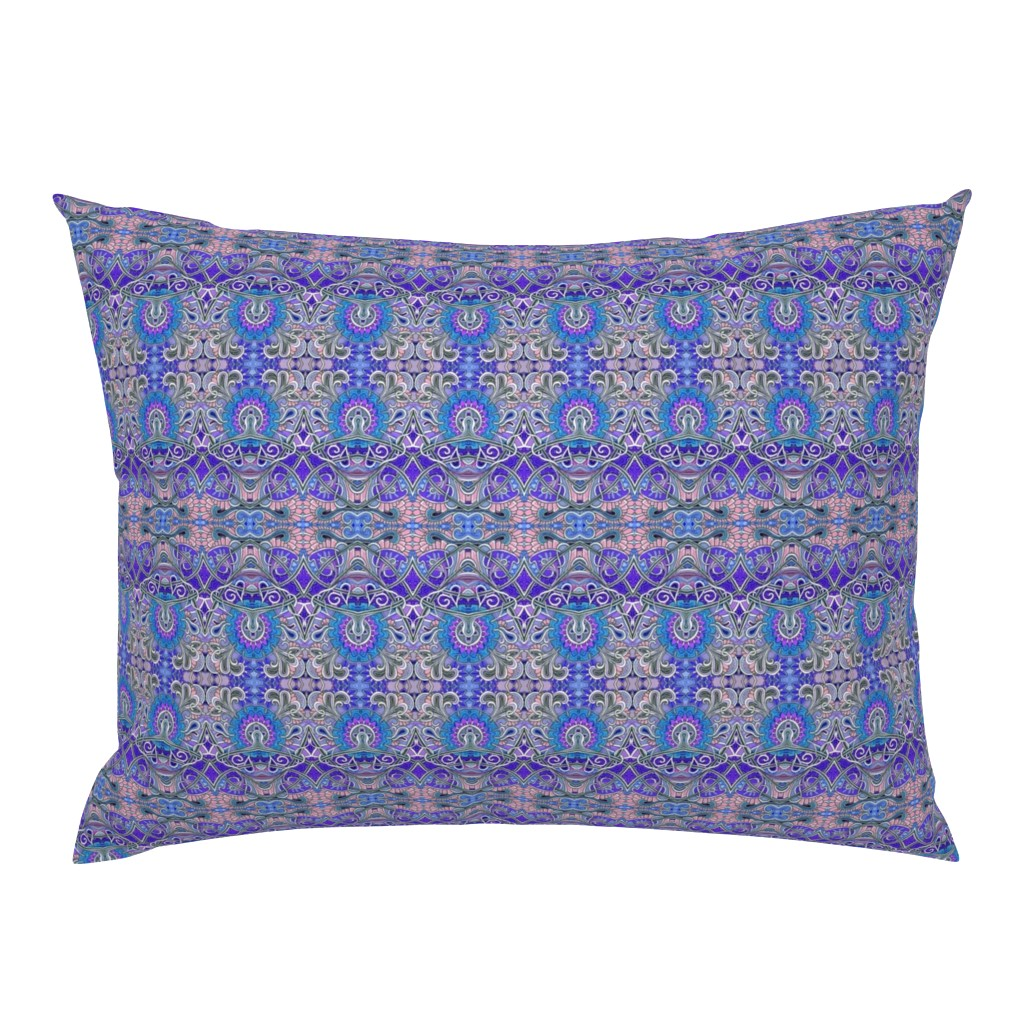 Campine Pillow Sham featuring Zig Zag Scallop Chrysanthemum Paisley Psychedelic Stripe by edsel2084