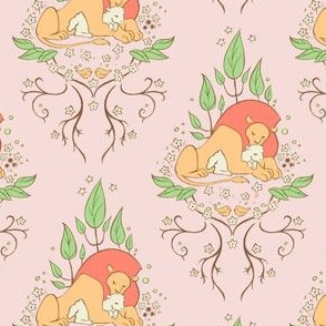 The Lion and the Lamb Damask