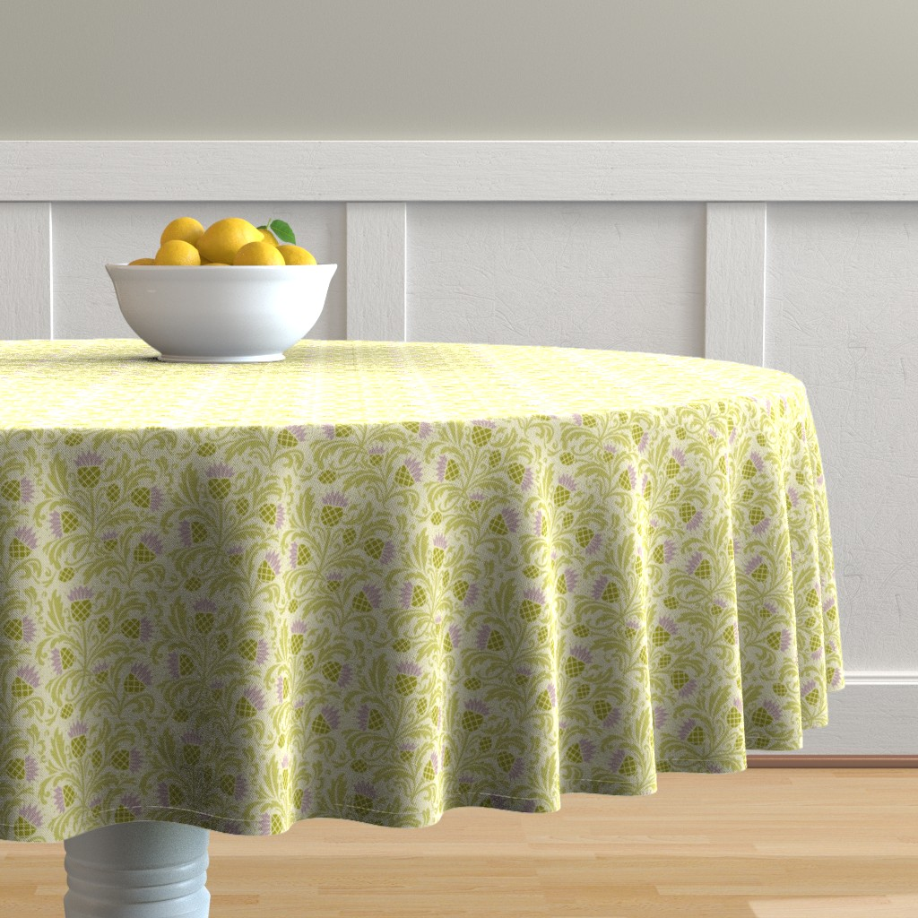 Malay Round Tablecloth featuring thistle by cindylindgren