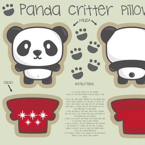 Panda bear + jersey critter pillow