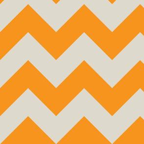 orange and ecru chevron