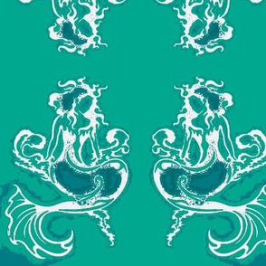 Sitting Pretty Mermaid6-teals/white