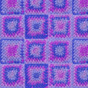Circle in a Square - Medium Blues and Purples