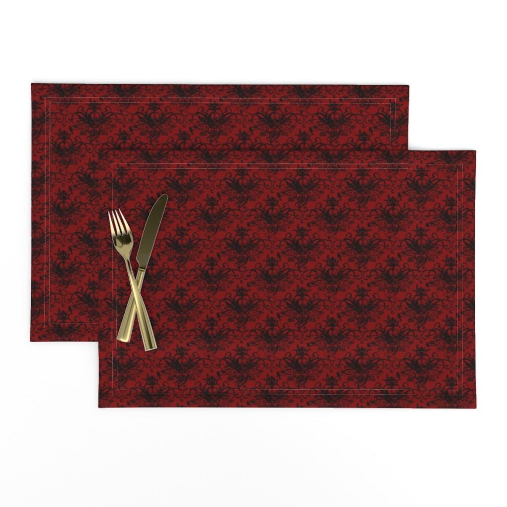 Lamona Cloth Placemats featuring Raven Skull Damask Red and Black by geekycuties