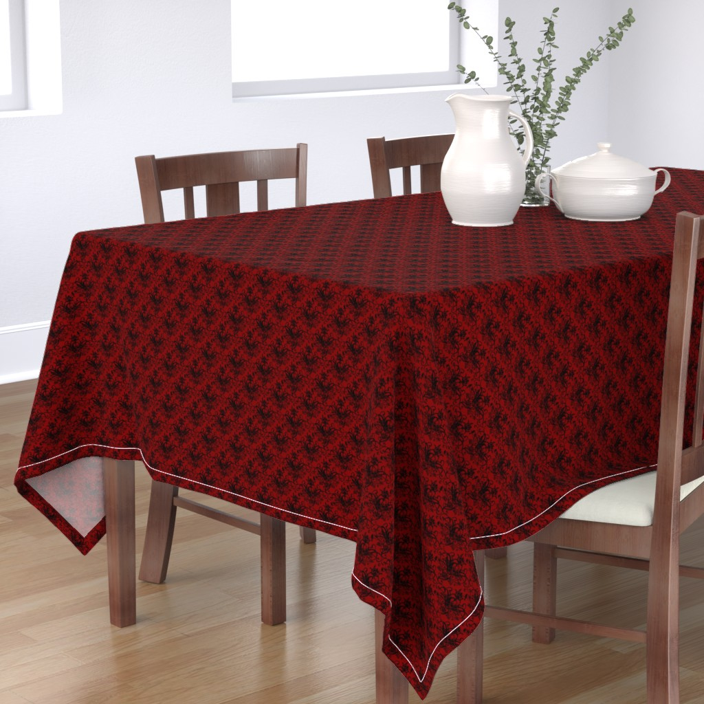 Bantam Rectangular Tablecloth featuring Raven Skull Damask Red and Black by geekycuties