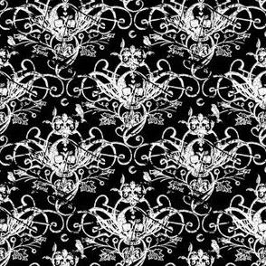 Raven Skull Damask Black