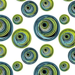 Peacock Inspired Blue and Green Circle Swirls