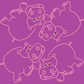 Pink Hippos Purple Background