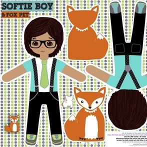Boy softie toy doll with pet fox