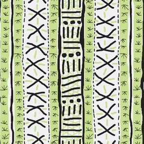 Mudcloth Inspired - black, white and green