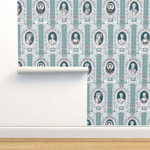 Wallpaper Toile De Jouy Science Women Teal Small