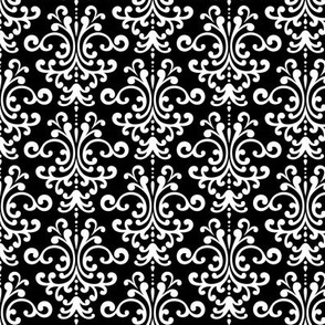 damask black and white