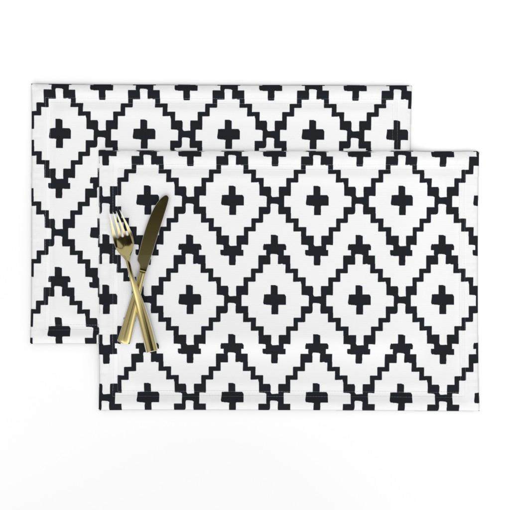 Lamona Cloth Placemats featuring Southwest Diamond Chevron _ Black on white by alison_janssen