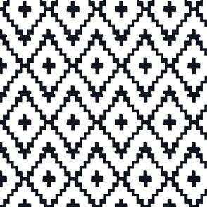 Southwest Diamond Chevron _ Black on white