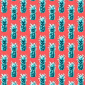 Pineapples retro style - teal on coral